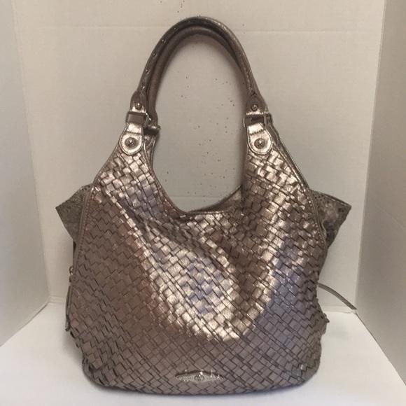 Elliott Lucca Handbags - Elliott Lucca metallic silver woven leather hobo eb54662f0b3ef
